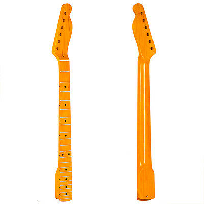 Electric Guitar Neck Yellow Tint Gloss Maple 22 Fret For TL Parts Replacement
