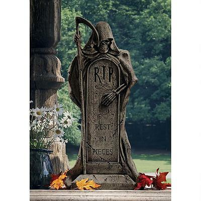 Cemetery Tombstone Grim Reaper Ghoulish Grave Marker Halloween Prop