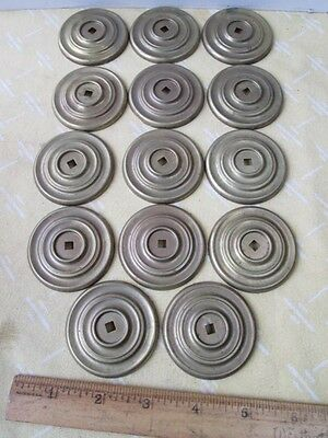 "14 Vintage Brass ROUND Drawer BACK PLATES,2 1/8""Diam.,Circle Design"