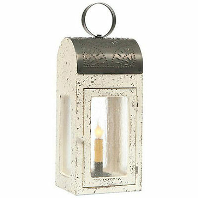Primitive new VINTAGE WHITE wood/tin large accent table lantern light/FREE SHIP