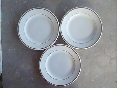 3 Heavy Homer Laughlin Salad Plates Ivory W/ Thin Inner & Thick Outer Gold Band