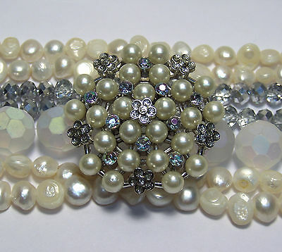JEWELRY MAKING SUPPLIES LOT~WHITE BEADS MIX~VINTAGE STYLE~FRESHWATER PEARLS~