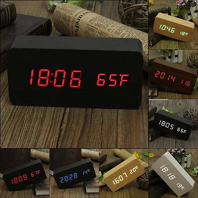 【Voice Control】Wooden Wood LED Digital Alarm Clock USB/AAA Calendar Thermometer
