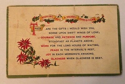 """Old Post Card """"Wishing You A Merry Christmas"""""""