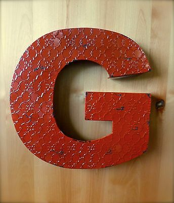 "INDUSTRIAL RED METAL WALL LETTER ""G"" 20"" TALL rustic vintage decor antique sign"