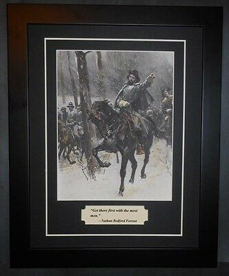 Nathan B. Forrest Civil War Confederate General On Horse Photo & Quote Framed