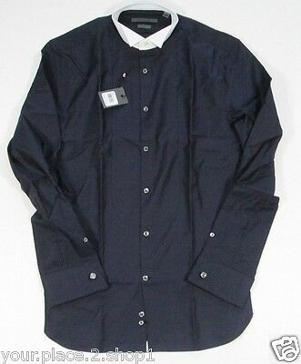 John Varvatos Mens Navy Blue Dotted Slim Fit TUXEDO Dress Shirt Made In Italy