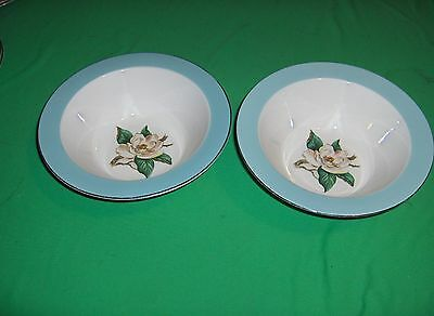2 Vintage Round Veggie Bowls Turquoise  Lifetime China Homer Laughlin Magnolias