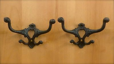 2 BROWN DOUBLE COAT HALL SEAT HOOKS ANTIQUE-STYLE RUSTIC CAST IRON coat hat rack