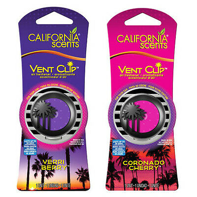 California Scents Twin Pack Vent Clip Car Air Freshener Set - BERRY + CHERRY