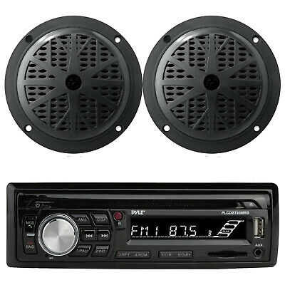 "Kenwood Marine iPod Bluetooth CD USB AUX Radio, 4"" Black Enrock Marine Speakers"