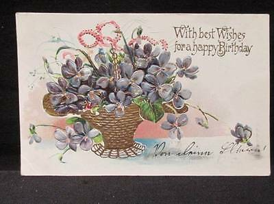 Best Wishes for a Happy Birthday forget me nots early 1900s postcard