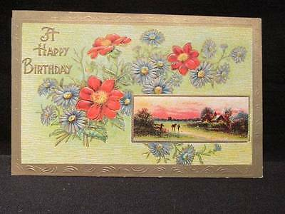 A Happy Birthday early 1900s embossed postcard #2200 printed in Germany