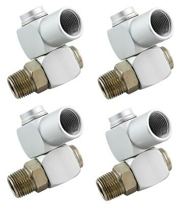 "4 PACK 1/4"" Universal 360 Swivel Air Hose Connector Adapter Flow Aluminum NEW"