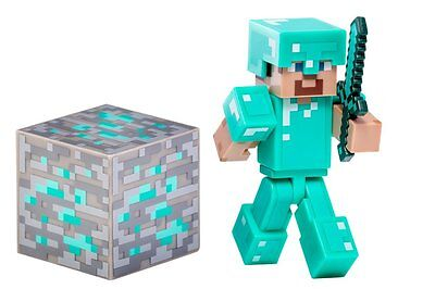 "Action Figure - Minecraft - 3"" Steve with Diamond Armor & Accessory"