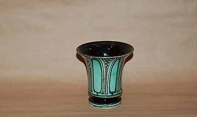 Herman H. Kahler Danmark Danish Slip Decorated Pottery Green Brown Small Vase