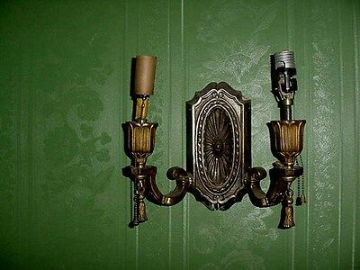 Antique Victorian Electric Double Wall Light Fixture Brass Cast Sconce