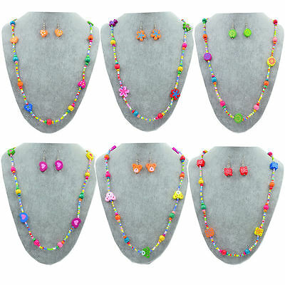 1 Set Girl's Colorful Wooden Flower Heart Beads Necklace&Earrings Jewellery Sets