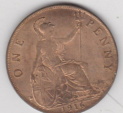 1916 George V Penny In Good Extremely Fine To Near Mint Condition