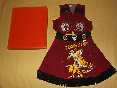 Vintage Cowboy 1950-60S Western Cowgirl Skirt  & Vest Set In Box Unused