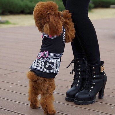 pet dog clothes Warm  shirt vest Dress Puppy Coat For Cat Small Dog Size XS