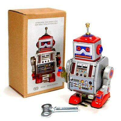 "TIN TOY ROBOT 4"" Wind Up Retro Vintage Style Silver Metal NIB Space Collectable"