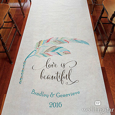 Feather Whimsy PERSONALIZED Aisle Runner Wedding Ceremony Decoration