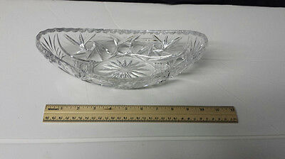Vintage Clear Cut Glass Oval and Curved Up Relish Olive Pickle Serving Dish