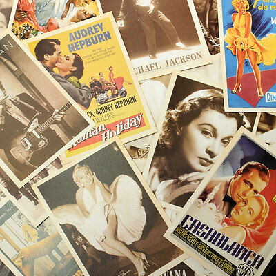 32pcs Vintage Postcards Super Stars European American Photo Poster Retro Cards