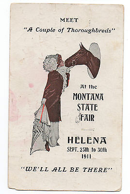 1911 Advertising Postcard Helena Montana State Fair Lady & Horse