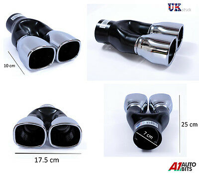 Sport Chrome Universal Dual Exhaust Tail Tip Pipe Muffler Trim Twin Fit 44-73Mm