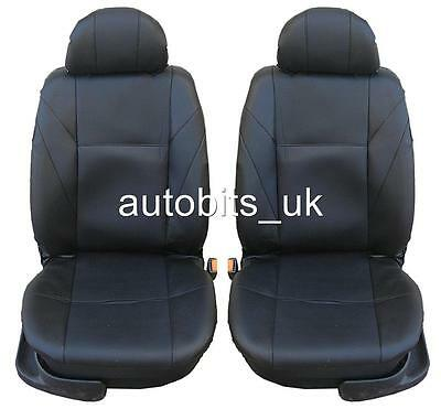 Universal Front Black Leather Seat Covers Car Van Motorhome Bus Mpv Truck