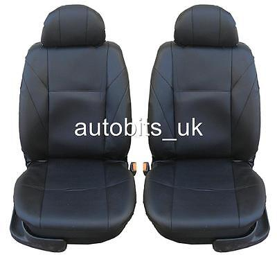 Universal Front Black Pu Leather Seat Covers Car Van Motorhome Bus Mpv Truck
