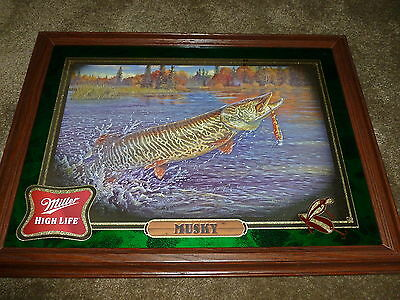 Miller High Life Musky Mirror, 1st in Fish Mirror Series  Lot E-941