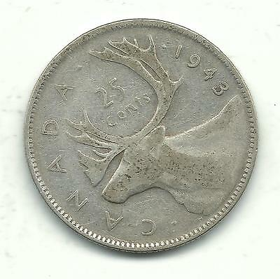 VERY NICE BETTER GRADE VINTAGE 1943 CANADA 25 CENTS SILVER COIN-JAN614