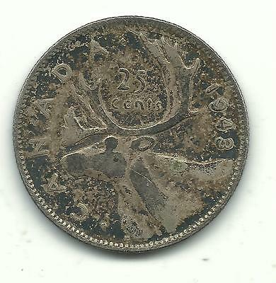 VERY NICE HIGHER GRADE VINTAGE 1943 CANADA 25 CENTS SILVER COIN-JAN615