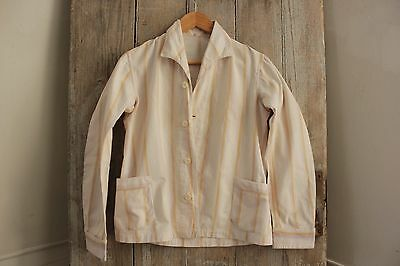 Vintage French flanned brushed cotton Pajamas PJ's c1930 striped ~
