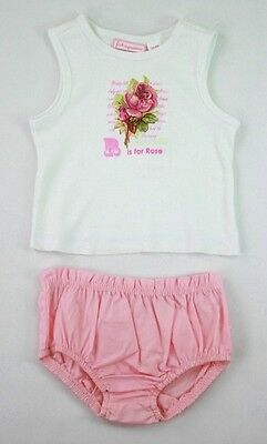 First Impressions Baby Girl 2 PC sleeveless top set pink size 3 - 6 Months