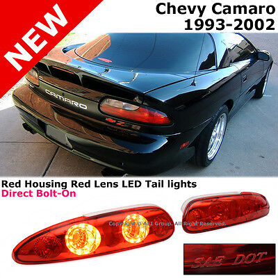 Chevy Camaro 93-02 Rear Trunk Bumper LED Tail Brake Lights Red Lens SAE DOT