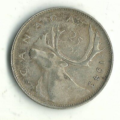 VERY NICE HIGH GRADE AU VINTAGE 1943 CANADA 25 CENTS SILVER COIN-JAN621
