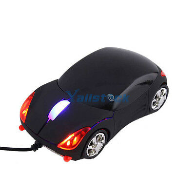 New Car Shaped USB 3D Wired Optical Mouse 2.5oz for Computer Laptop PC Black