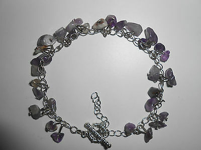 Amethyst Chip Healing Bracelet-Silver Plated Copper Claps. #1.
