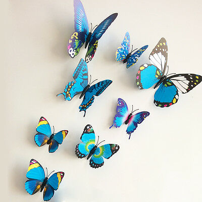 12pcs 3D Butterfly Sticker Art Wall Stickers Decals Room Decorations Decor Blue