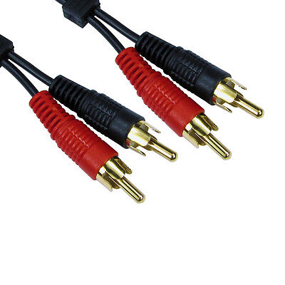 0.5m SHORT 2 x RCA (Twin Phono) Cable Speaker Amp Lead Male To Male Plug GOLD