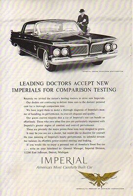1962 CHRYSLER AD IMPERIAL CROWN LEADING DOCTORS ACCEPT Vintage Advertising
