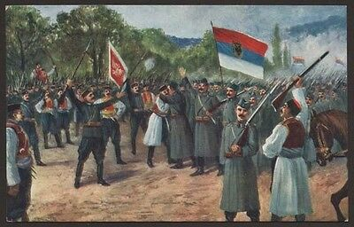 WW1 BALKAN WAR MONTENEGRO SERBIA ARMY MEETING INFANTRY SOLDIER MILITARY