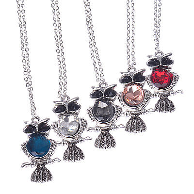 Chic Women's Jewelry Tibetan Silver 5 Colors Cute Big Crystal Owl Necklace Gift