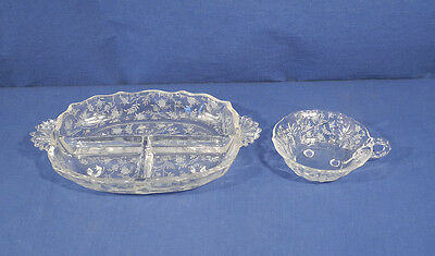 Vintage Fostoria Crystal Glass Chintz Baroque 3 Part Relish Tray and Nappy Dish