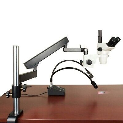 OMAX 6.7X-45X Zoom Stereo Microscope w Articulating Arm + 6W Dual-Pipe LED Light