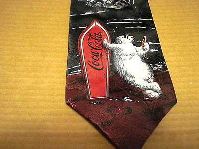Coca-Cola 1995 Necktie With Polar Bear With Surfboard (Blue And Burgandy)